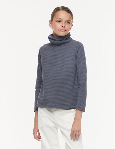 Ecru/Anthracite small stripes turtleneck t-shirt - View all > - Nícoli