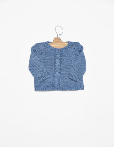 Blue cable-knit jumper - View all > - Nícoli