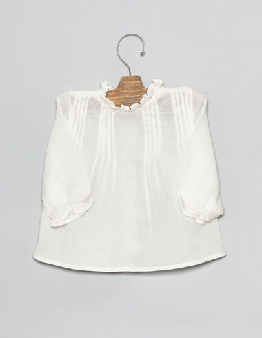 Natural baby blouse with pintuck detail - Shirts - Nícoli