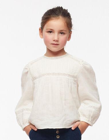 Ecru lace round neck buttoned shirt - Shirts - Nícoli