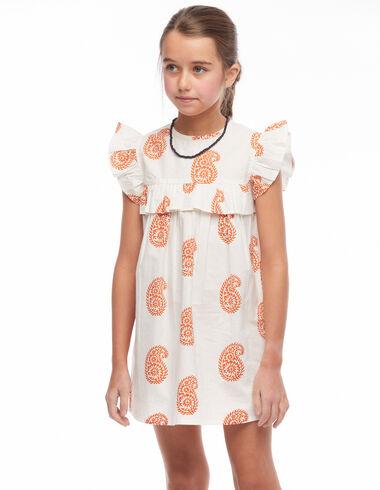 Large orange paisley print short dress - The Spring Colour For Kids - Nícoli
