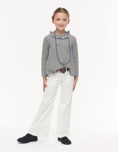 White wide leg trousers with pocket - Denim guide - Nícoli