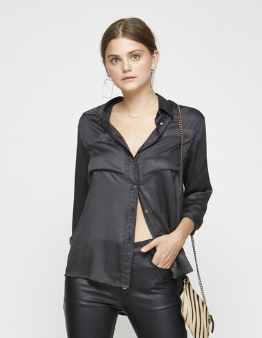 Anthracite silk blouse with pockets - Shirts - Nícoli