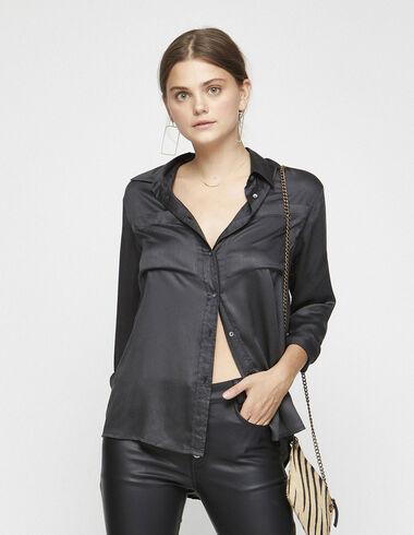 Camisa bolsillos seda antracita - Camisas y Tops - Nícoli