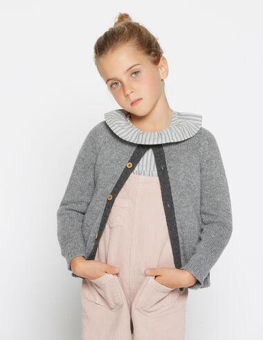 Girl's dark gray bicolour cardigan - View all > - Nícoli