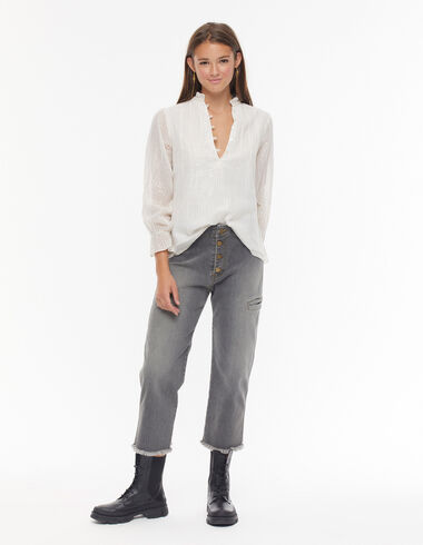 Grey jeans with buttons - Trousers - Nícoli
