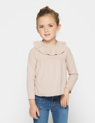 Girl's pink ruffle top - Shirts - Nícoli
