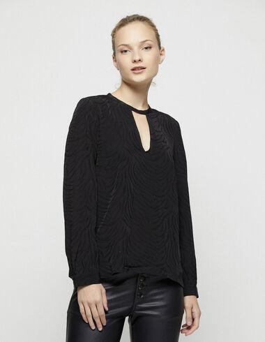 Black jacquard open blouse - Shirts - Nícoli
