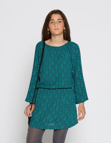 Robe froncée paisley vert pour petites filles - Robes - Nícoli