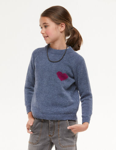 Pink jumper with blue heart - View all > - Nícoli