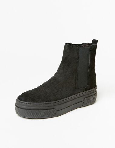 Bottes compensées en cuir noir pour filles - Femme - Nícoli