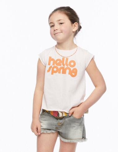 Camiseta hello spring rosa - Camisetas Solidarias - Nícoli