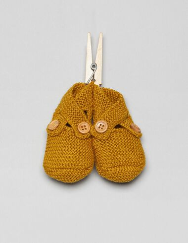 Mustard bootees with buttons - Footwear - Nícoli