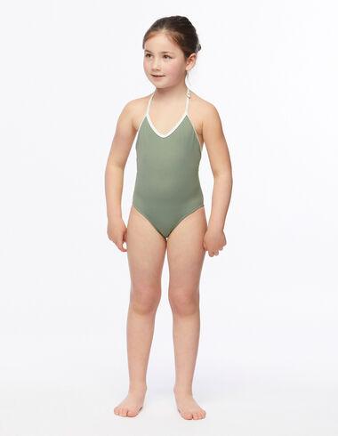 Maillot de bain fille vert contraste écru - Swimwear Collection - Nícoli