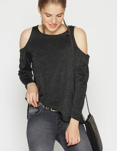 Girl's black sparkly sweater with shoulder patches - Pullovers - Nícoli
