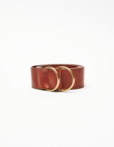 Brown double round buckle belt - Belts - Nícoli