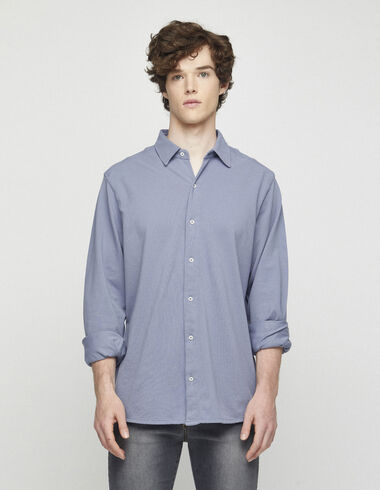 Distressed blue short sleeved polo shirt - View all > - Nícoli