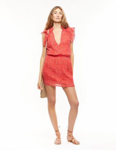 Vestido hombro volante ramos rojo - Vestidos - Nícoli