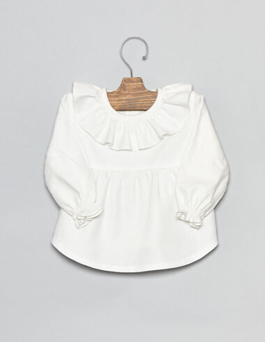 White ruffle baby blouse - View all > - Nícoli