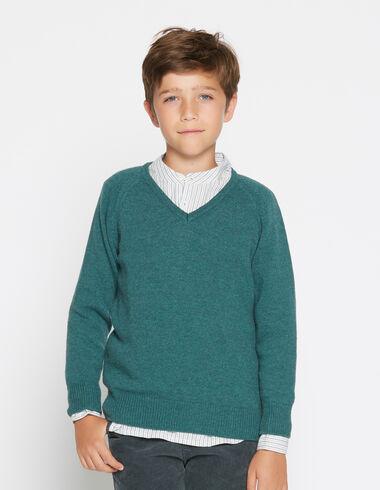 Boy's green v-neck sweater - Pullovers - Nícoli