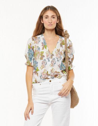 Large blue flower print pin-tuck V-neck shirt - View all > - Nícoli