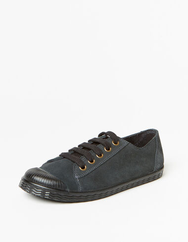 Girl's graphite lace-up plimsolls - View all > - Nícoli