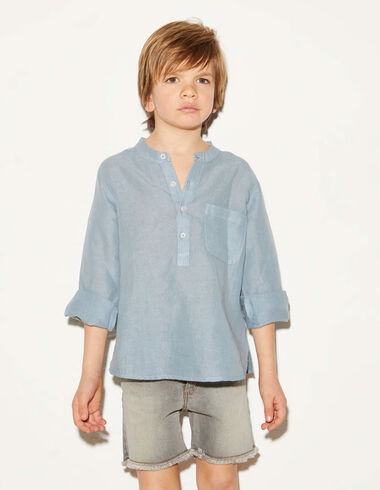 Blue linen mandarin collar shirt - Shirts - Nícoli