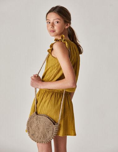 Vestido niña gomita rayas mostaza - Vestidos - Nícoli