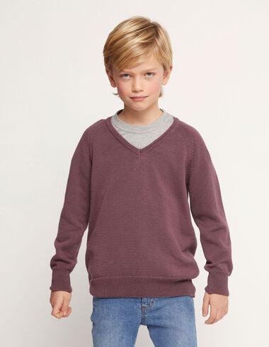 Pull col V prune  - Kids jumpers & Sweatshirts - Nícoli