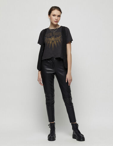 Black leather look baggy trousers - New in - Nícoli
