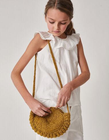Girl's white ruffle neck blouse - Shirts - Nícoli