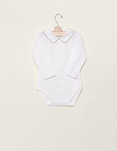 Taupe baby bodysuit with topstitching - View all > - Nícoli