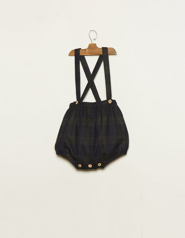 Blue tartan bloomers with braces - Bloomers - Nícoli