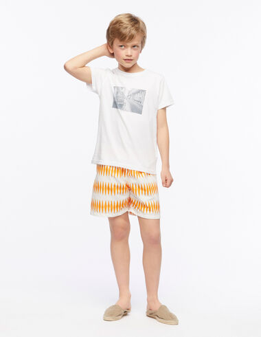 Orange diamond boy's swimsuit - Beach Time - Nícoli