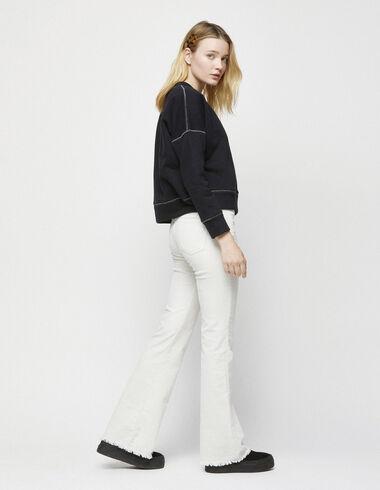 Pantalon slim évasé en velours écru - Vêtements - Nícoli