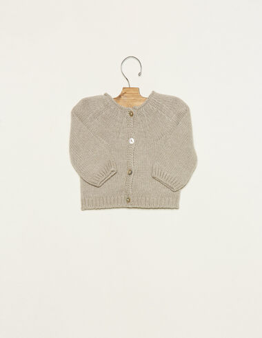 Taupe cardigan with buttons - Cardigans - Nícoli
