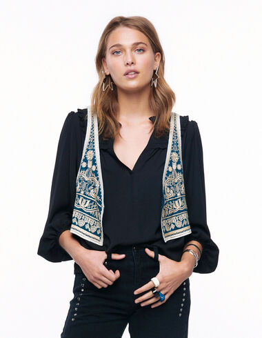 Dark green embroidered leaves vest - View all > - Nícoli