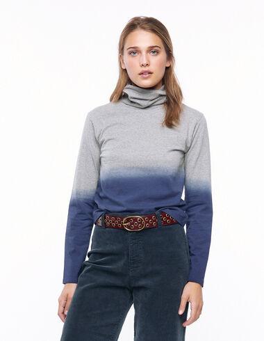 T-shirt col roulé tie dye gris et bleu - Voir tout > - Nícoli