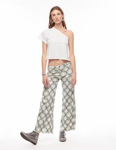 Blue geometric print wide leg trousers - Denim - Nícoli
