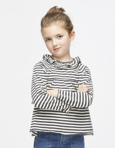 Off-white/anthracite striped ruffle top - T-shirts - Nícoli