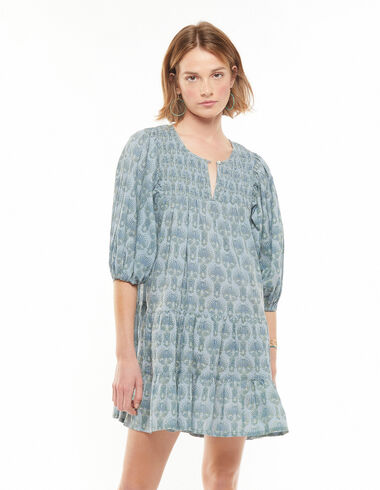 Vestido manga farol espiga azul - Lost in Tarifa - Nícoli