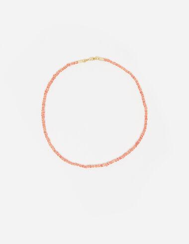 Collar bolitas rayas naranja y crudo  - Ver todo > - Nícoli