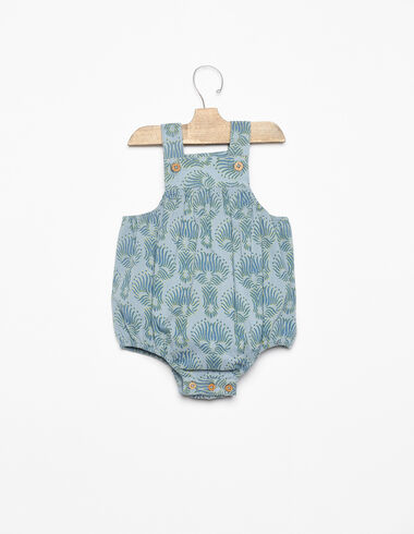 Blue herringbone buttoned playsuit - View all > - Nícoli