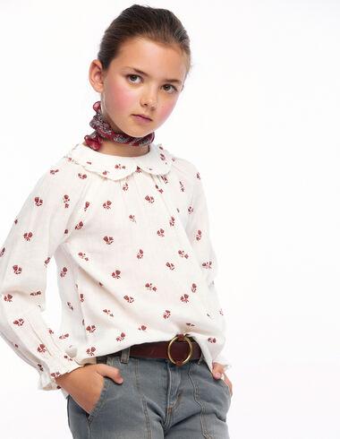 Chemise col Claudine volants fleurs fraise - Voir tout > - Nícoli