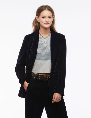 Blue velvet blazer - Blazers - Nícoli