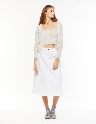 Long white denim skirt - View all > - Nícoli