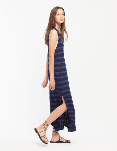 Vestido largo raya brillo azul - Ver todo > - Nícoli