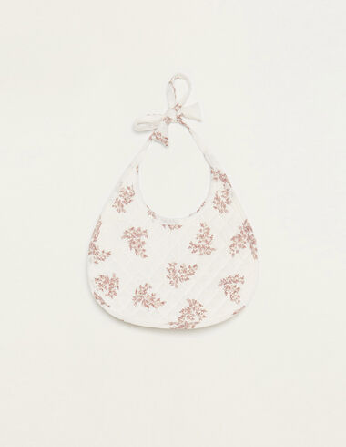 White bib with pink floral details - Bibs - Nícoli