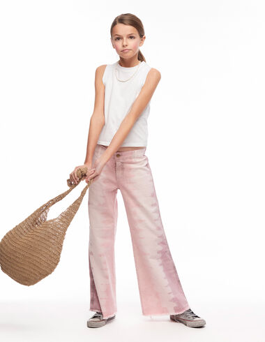 Strawberry tie dye wide-legged trousers - Pink & White - Nícoli