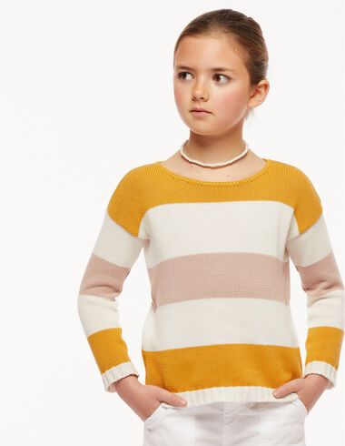 Pink and yellow striped ecru jumper - View all > - Nícoli